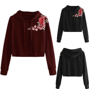 4275eec422b658 Image is loading Women-Hoodie-Blouse-Sweatshirt-Jumper-Sweater-Crop-Top-