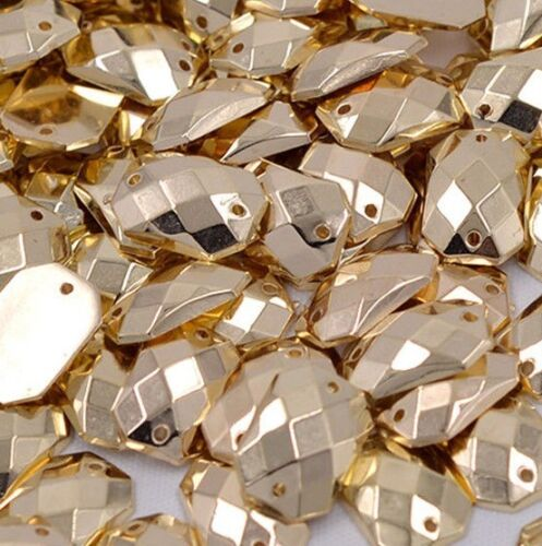 50 x Gold Sew on  rectangle Diamante Crystal Gems Rhinestone Bling 10x14mm #10