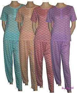 New Ladies Pyjama Sets Zigzag Print Nightwear Short Sleeve PJ's S(8) to 2XL (22)