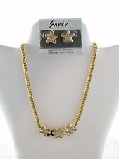 NEW EDELWEISS ~ GOLD TONE / CREAM & BLUE STAR NECKLACE W/ MATCHING EARRINGS
