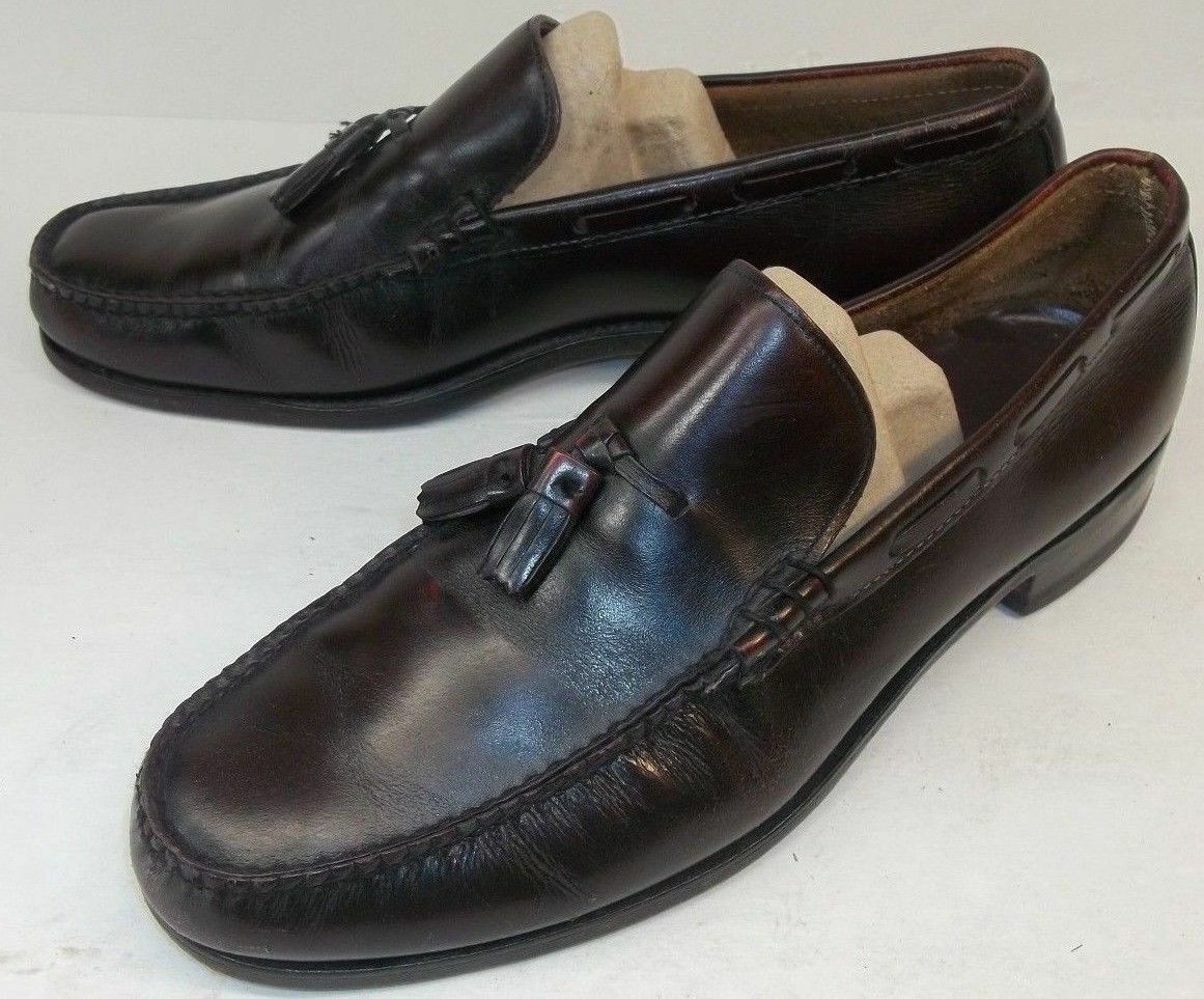 Bostonian Mens US 11 D Burgundy Leather Tassel dress Loafers Dress shoes work