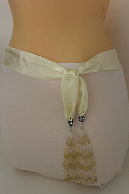 Women Chic Fashion Belt Long Cream White Tie Fringe Beads Scarf Hip Waist XS S