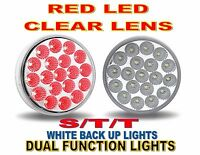 (four) 19 Led 4 Trux Dual Function Round Clear Lens S/t/t & Back-up (kit)