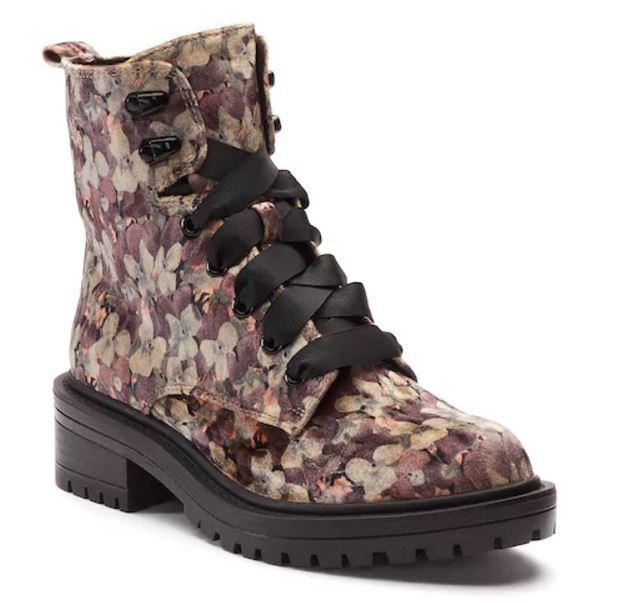 Nuevo con Etiqueta Mujer Candie's Confianza botas Miltares Elegir Tamaño Floral