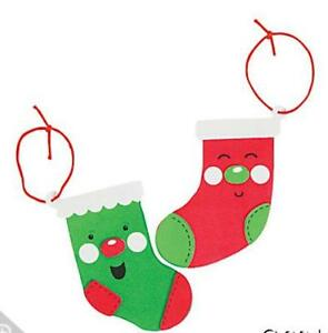 Image is loading 2-Jolly-Stockings-Foam-Ornaments-Craft-Kit-Christmas-