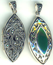 925 Sterling Silver Green Agate & Marcasite Reversible Double Side Locket 1.3/4""