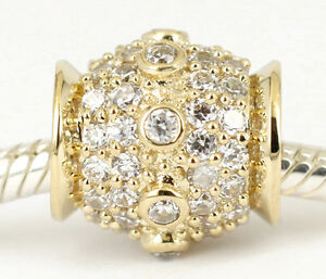 GENUINE 9CT 9KT SOLID ROSE GOLD Big BEAD 68Cz all around For Bracelet Necklace