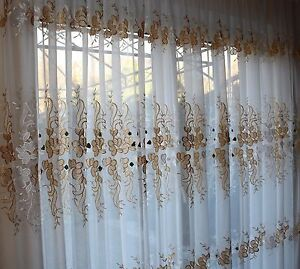 Schwedische gardinen stoffe  Gardinen Stoff meterware , Voile ,Weiß / Gold , NEU | eBay