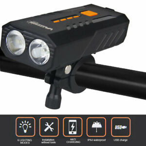 20000LM Bike Front Lamp Cycling Headlight USB Rechargeable Flashlight /& Rear Kit