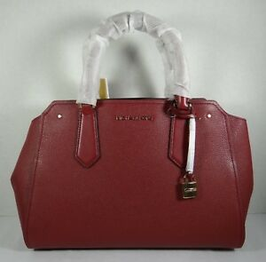 Image Is Loading Michael Kors Hayes Mulberry Leather Large Satchel Crossbody