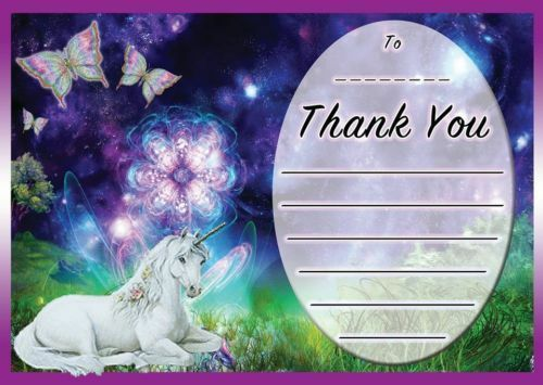 PURPLE UNICORN THEME BIRTHDAY THANK YOU LETTERS NOTES CARDS GIFTS KIDS