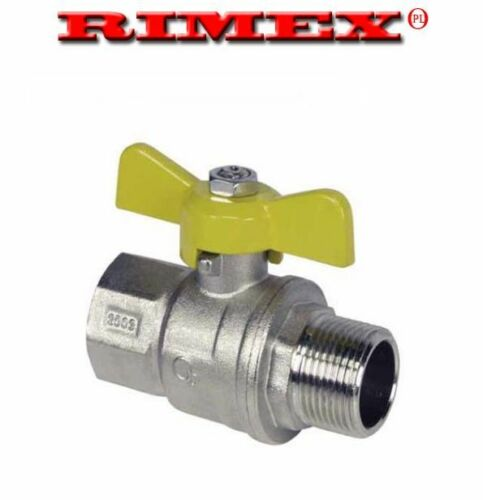 "Gas Ball Valve 3//4/"" F x M Yellow Butterfly Handle"