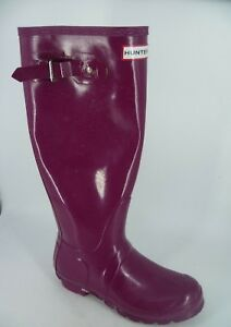 7ab056ff0 Image is loading Hunter-Original-Tall-Gloss-Wellington-Boots-Purple-UK-