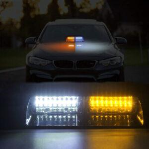 16LED-Amber-White-Car-Truck-Warning-Emergency-Strobe-Light-Flashing-Dash-Lamp