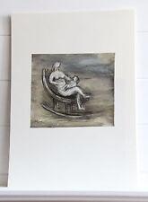 Henry Moore MADRE E BAMBINO SULLA SEDIA A DONDOLO Mother and child Litogr.