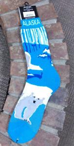 Alaska-Themed-Polar-Bear-on-Ice-Socks-adult-sizes-9-12-Towel-socks