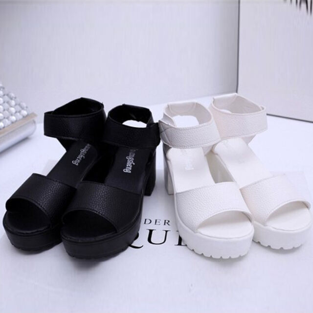 WOMENS PLATFORM WEDGE HEEL HIGH LADIES CHUNKY STRAPPY SANDALS SHOES