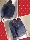 NEW LEVI'S Size L RIPED WASHED Denim BLUE Jean Cropped Jacket Women