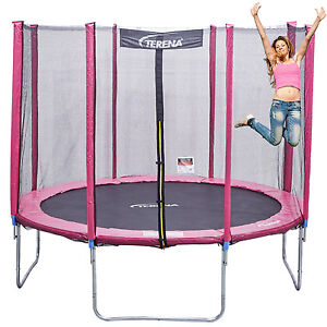 trampolin 244 cm mit netz sicherheitsnetz gartentrampolin f r kinder 8ft pink ebay. Black Bedroom Furniture Sets. Home Design Ideas