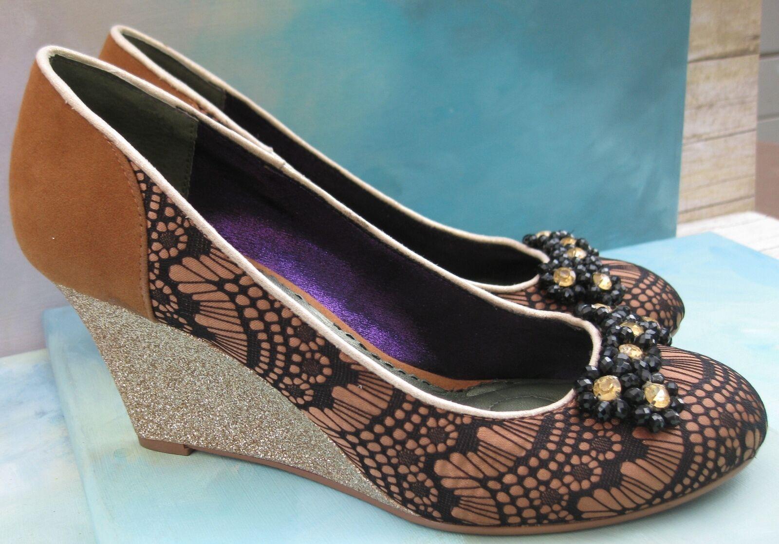 Poetic Licence golden Glitter Wedge Black Black Black Lacy Pumps Heels Wms EU 39 US 8.5 8f7a66