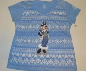 Nwt New Disney Parks Clarabelle Cow Ugly Sweater Blue Christmas Tee