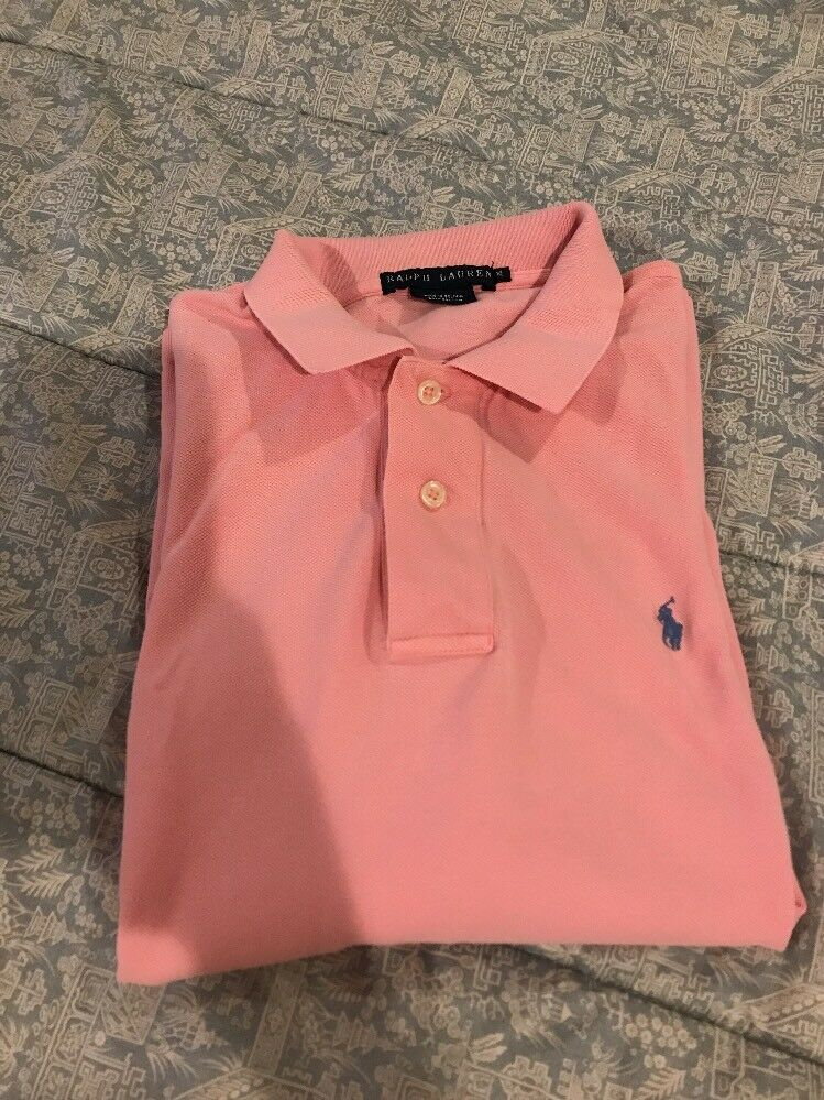 damen's Ralph Lauren Classic Fit Collarot Shirt In Soft Rosa, Größe XL