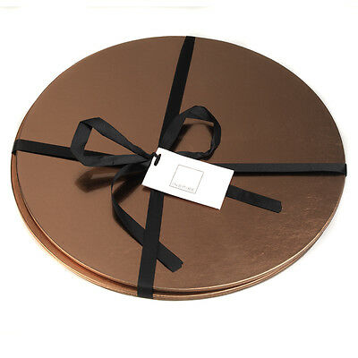 Inspire Set Of 2 Circle Metallic Leather Placemats