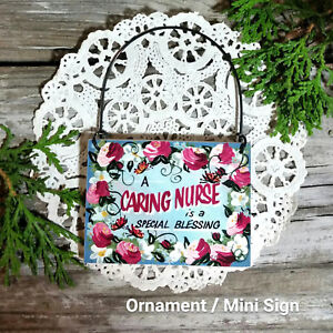 DECO-Mini-Sign-Caring-Nurse-Wood-Ornament-RN-LVN-Hospice-Hospital-Thank-You-Gift