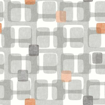 Arthouse Retro Block Orange Grey Geometric Wallpaper 902307 SAMPLE ONLY
