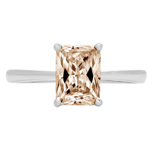 Details about  /2.0ct Emerald Champagne CZ Wedding Classic Statement Ring Real 14k White Gold