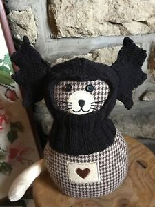 Hand Knitted Bat Wing Halloween Balaclava For Small dogs ...