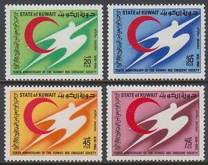 Kuwait-1976-mi-674-77-rojo-media-luna-red-crescent