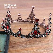 Black And Red Rhinestone Headdress Headband Queen Tiara Crown Bridal Accessory