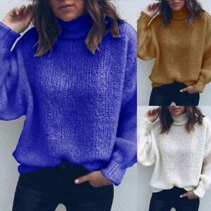 Tops-Loose-T-shirt-Knitted-sweater-Fashion-Solid-Long-Sleeve-Casual-Women-039-s