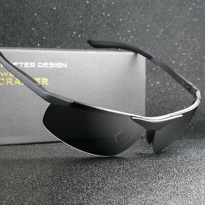 Herren Polarisierte Fahren Sonnenbrille Al-Mg Metall Rahme Ultra Leicht