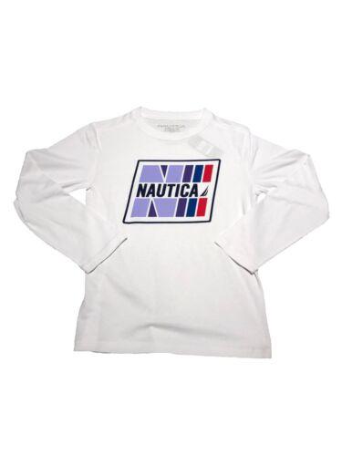 Nautica BOYS' White Logo Long Sleeve T-SHIRT Little Boys Size Extra Large 7 NWT