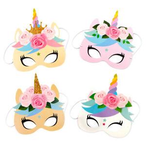 12PCS-Rainbow-Unicorn-Party-Masks-Rainbow-Birthday-Paper-Headbands-Kids-Favors