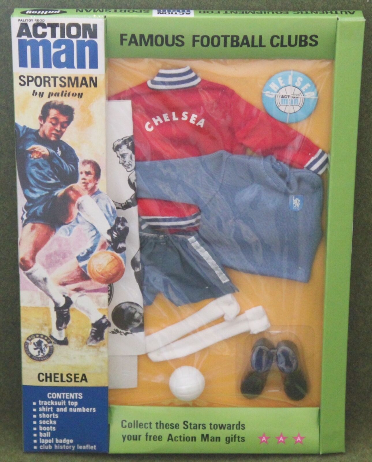 Vintage action man 40th anniversary chelsea football kit  carded boxed