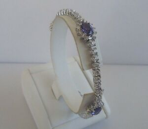 Dynamic 925 Sterling Silver Ladies Tennis Bracelet W/14 Cts Diamond/tanzanite/ 8 '' Lng Last Style Bracelets