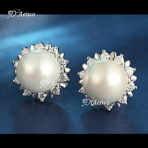 18K-WHITE-GOLD-GF-MADE-WITH-SWAROVSKI-CRYSTAL-PEARL-STUD-EARRINGS-ELEGANT