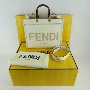 Fendi White Medium Sunshine Leather Shopper Tote Bag NEW NIB