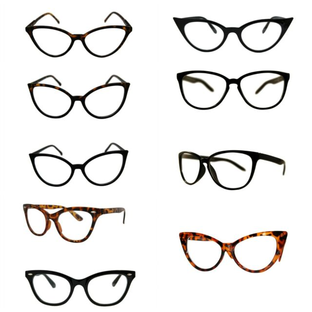 Black Cat Eye Black Lens Sunglasses Pointy Sharp Rockabilly Glasses 50s Retro S