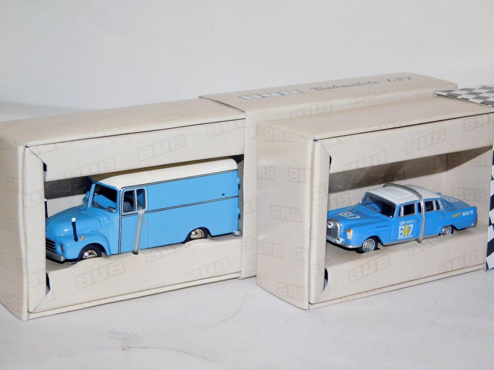 Lote de 2  OPEL Blitz azul y Mercedes 300SE plataina 1964 Bub 6875 & 6271 1 87