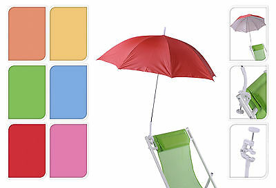 1.2M Beach Deck Chair Umbrella Lightweight Balcony Parasol&Screw Clamp Portable