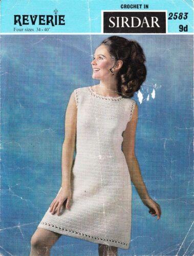 Vintage Crochet Patrón Dress W Calado Bordes