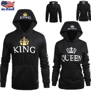 Details about Fashion Matching Couple Hoodies King and Queen Couple Sweatshirt Pullover New