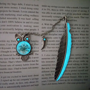 1X Luminous Night Owl Bookmark Label Read Maker Feather Book Mark Stationery