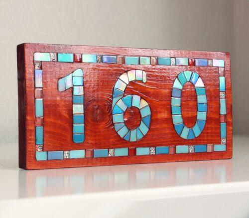 Personnalisé en bois Maison Numéro Porte Signe Adresse Plaque Mosaïque Art Decor