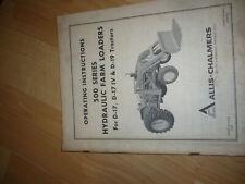 Allis Chalmers Tm 380a 500 Series Hydraulic Farm Loaders Operators Manual
