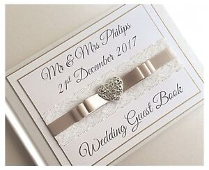 Personalised-Diamante-amp-Lace-Wedding-Guest-Book-Diamante-Heart-Any-Colour-BOXED